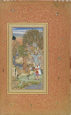 A Prince on Horseback Offering Wine to a Youth in a Tree House from the <em>Gulshan Album</em>