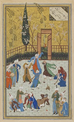 Folio from a <em>Divan</em> (collected poems) by Hafiz (d. 1390); recto: Sufi dance; verso: text