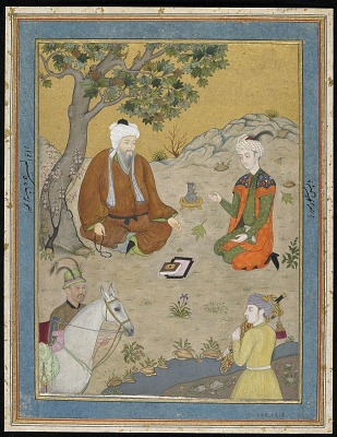 Holy man with prince and attendants