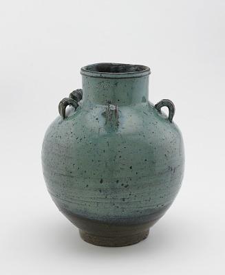 Karatsu ware tea-leaf storage jar with five loop lugs