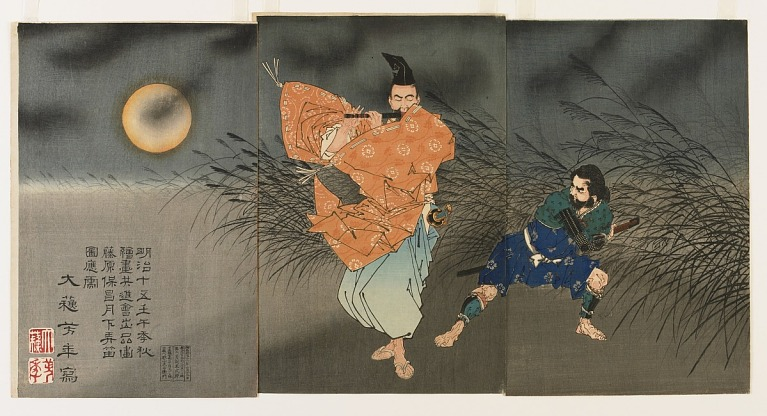 Woodblock print triptych image depicts the courtier Fujiwara no Yasumasa (958-1036) strolling on a desolate moor and subduing a would-be robber with the seductive sounds of his flute.