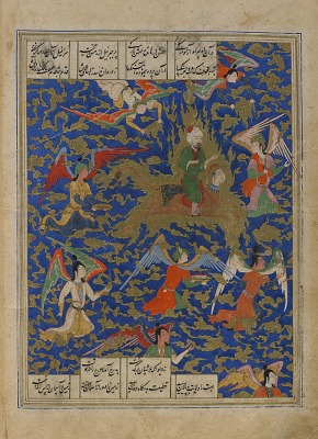 Folio from a <em>Khamsa</em> (Quintet) by Nizami (d.1209); verso: illustration: The Prophet's night journey (Mi'raj); recto: text