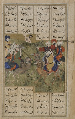 Folio from a <em>Layla u-Majnun</em> by Nizami (d. 1209); recto: The battle between the Arab chief Nawfal and the tribe of Layla; verso: text, continuation of the canto