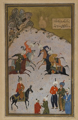 Folio from a <em>Divan</em> (collected poems) by Hafiz (d. 1390); recto: a polo game; verso: text, poem on qualities of the beloved and transience of life