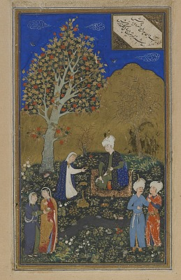Folio from a Divan (collected poems) by Hafiz (d. 1390); verso: lovers in a garden; recto: text, poem of annihilation of worldly possessions