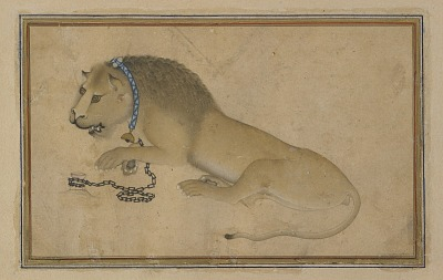 Folio from a <em>Divan</em> (collected poems) by Hafiz (d. 1390); recto: text; verso: Chained lion