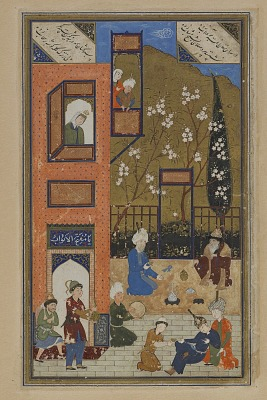 Folio from a <em>Divan</em> (collected poems) by Hafiz (d. 1390); recto: wine shop; verso: text