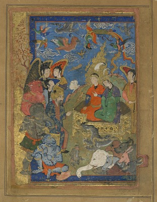 Folio from an unidentified text; Sulayman and Bilqis enthroned