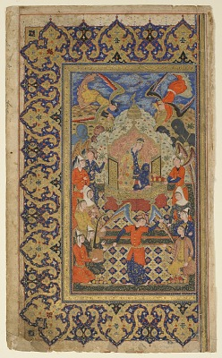 Folio from a <em>Shahnama</em> (Book of kings) by Firdawsi (d. 1020); recto: Bilqis enthroned, left-hand half of a double-page frontispiece; verso: text