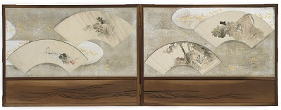 Four fan paintings mounted on a screen;