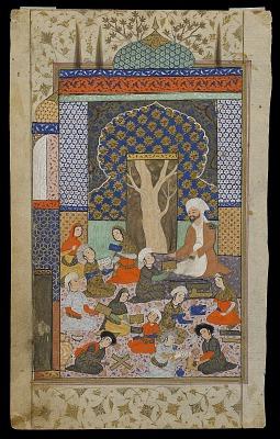 Folio from a <em>Khamsa</em> (Quintet) by Nizami (d.1209); recto: Layla and Majnun at school; verso: text
