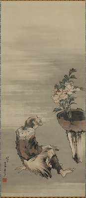 A Seated Man Looking at Potted Peonies