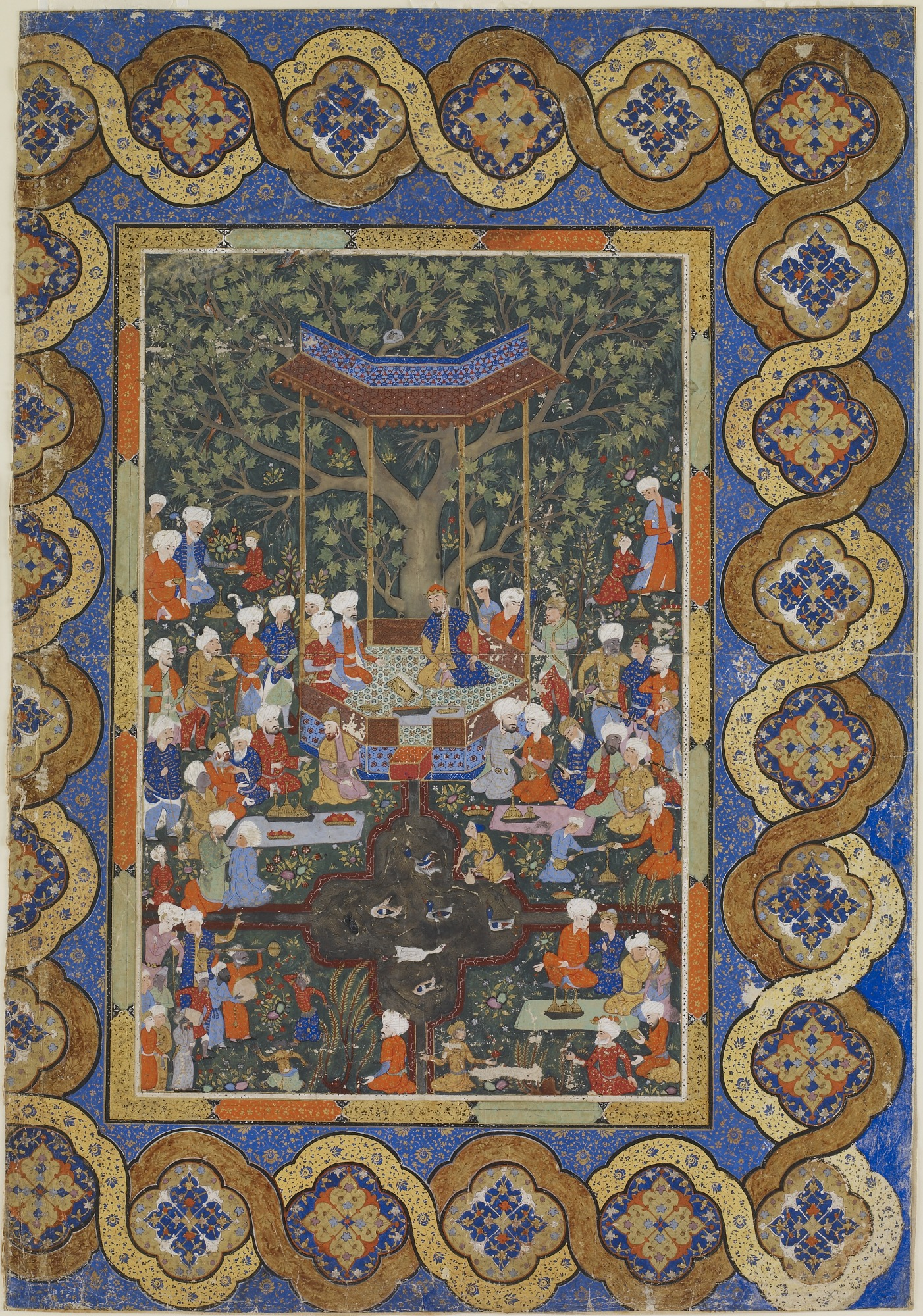 Folio from an unidentified text; A ruler in a garden pavilion surrounded by courtiers and attendants