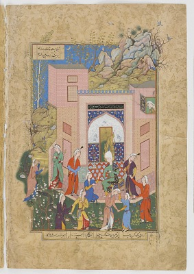 Folio from a <em>Haft Awrang</em> (Seven thrones) by Jami (d.1492); verso: Yusuf preaches to Zulaykha's maidens in her garden; recto: text