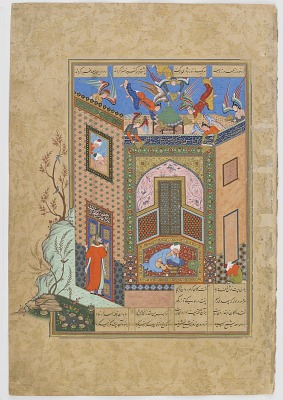 Folio from a <em>Haft Awrang</em> (Seven Thrones) by Jami (d.1492); recto: the gnostic has a vision of angels carrying trays of light to the poet Sa'di; verso: text