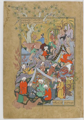 Double-folio from the <em>Haftawrang</em> (Seven Thrones) by Jami (d. 1492): Qays(Majnun) first Glimpses Layla (f. 231a)