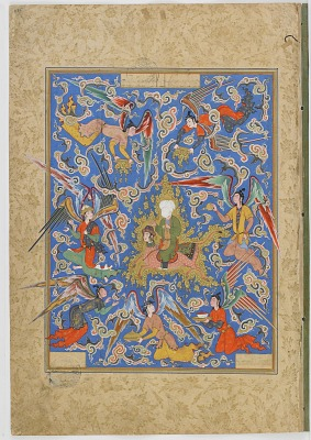Double-folio from the <em>Haftawrang</em> (Seven Thrones) by Jami (d. 1492): The Miraj of the Prophet (f. 275a)