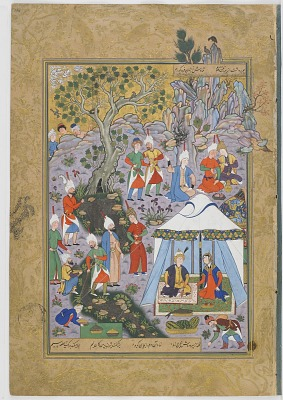 Double-folio from the <em>Haftawrang</em> (Seven Thrones) by Jami (d. 1492): Khusraw Parrizand Sirin deal with the fish monger (f. 291a)