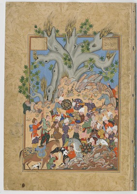 Double-folio from the <em>Haftawrang</em> (Seven Thrones) by Jami (d. 1492): Iskandar suffers a nosebleed and is laid to rest (f. 298a)
