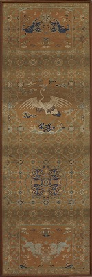 Chair cover with a crane, lions, dragons, auspicious symbols and floral patterns