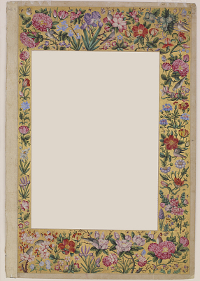 Floral border surrounding F1945.9a (page from the St. Petersburg album)