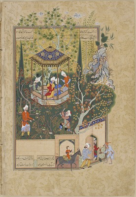 Folio from a <em>Haft Awrang</em> (Seven Thrones) by Jami (d. 1492): The Townsman Robs the Villager's Orchard