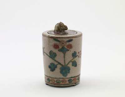 Cylindrical incense burner with rabbit on lid