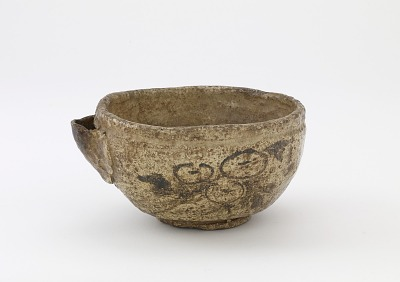 Serving bowl with spout, unknown Raku ware workshop