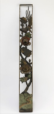 Carved openwork panel with hibiscus and long-tailed bird