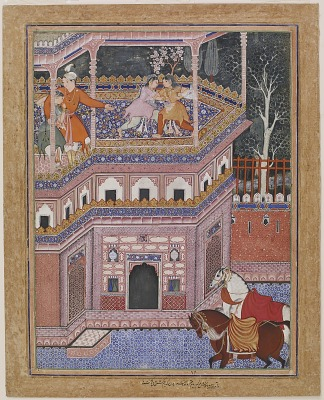 <em>Sa'id and Khosh Khiram arrive at a castle and see two girls wrestling on the roof</em> from the <em>Hamzanama</em>