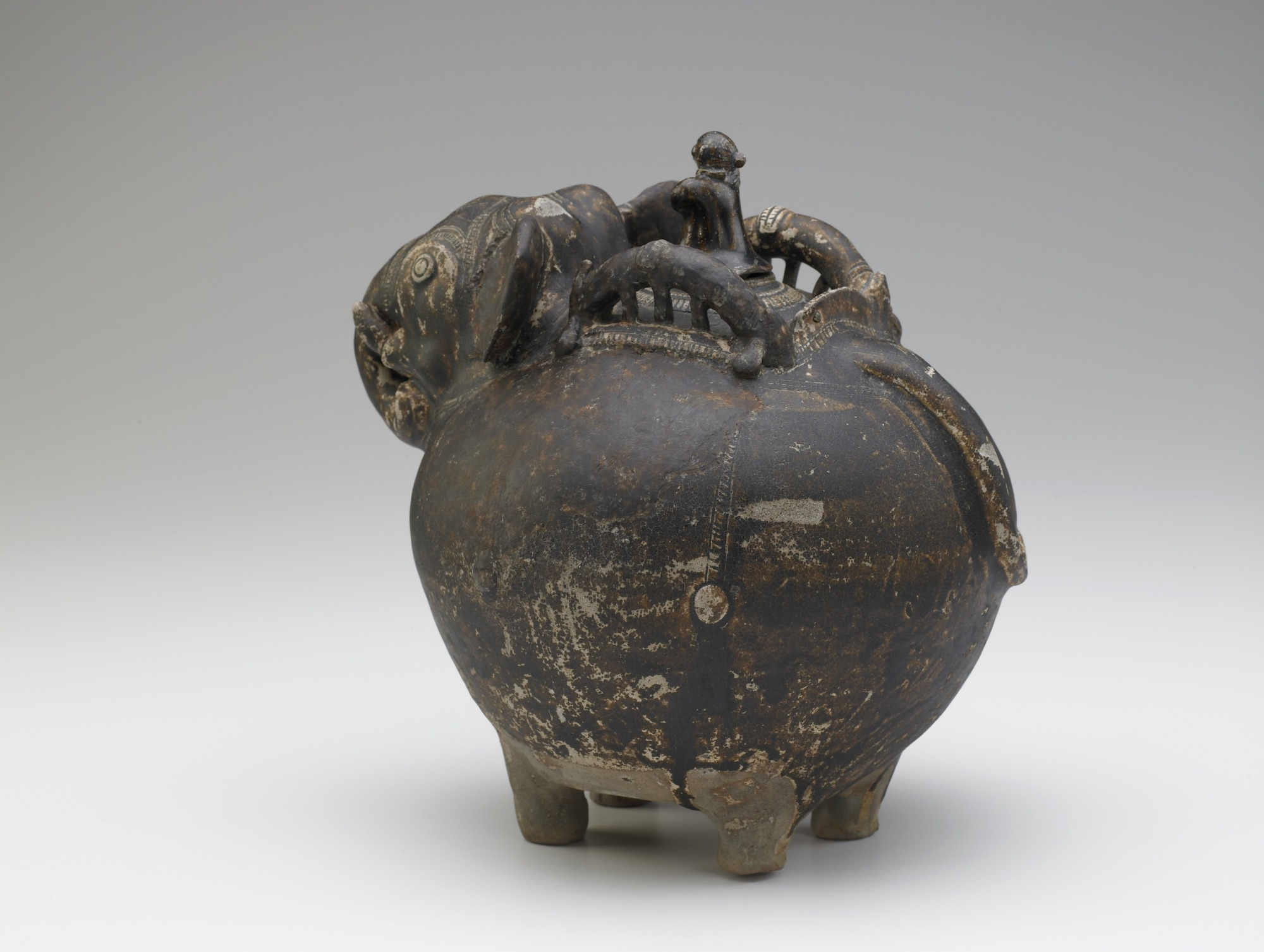 vessel with lid: Pouring vessel in the form of a caparisoned elephant, with a spout on the shoulder