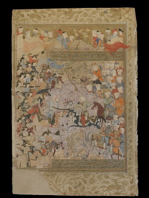 Folio from a Rawdat al-safa (Garden of felicity) by Mirkhwand (d. 1498); recto: The Battle against the Byzantines for Aleppo; verso: text: Muslim army in Damascus, Ilea, and Jordan