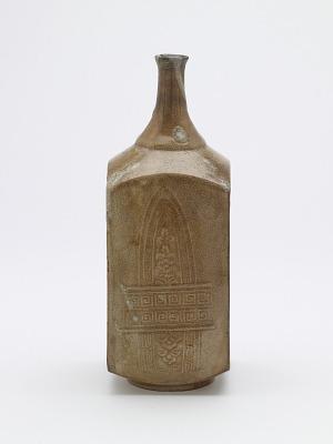 Square molded sake bottle