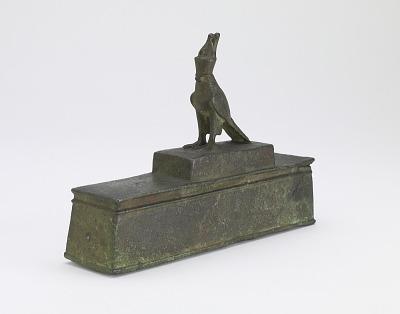 Horus falcon on shrine-shaped coffin