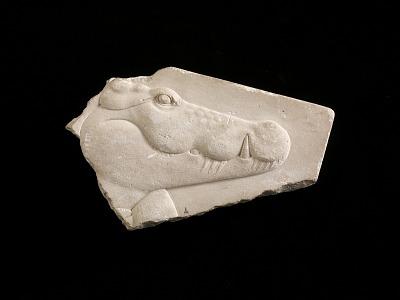 Plaque depicting head of a crocodile, perhaps the god Sobek