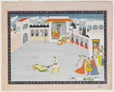 Balarama Fighting a Demoness, from a Bhagavata Purana