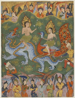 Folio from a <em>Falnama</em> (Book of omens); verso: Expulsion of Adam and Eve; recto: text