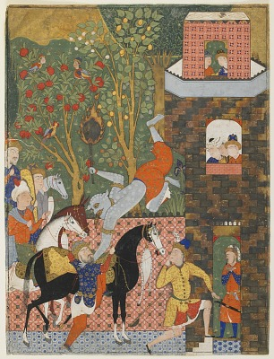 Folio from a <em>Falnama</em> (Book of omens); verso: The Angel of Death (Israel) slays Shaddad; recto: text