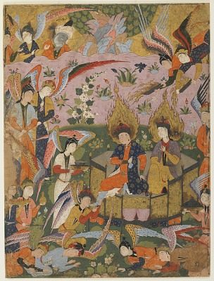 Folio from a <em>Falnama</em> (Book of omens); recto: blank; verso: Angels bow before Adam and Eve in Paradise