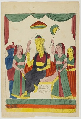 Enthroned Goddess with Attendants