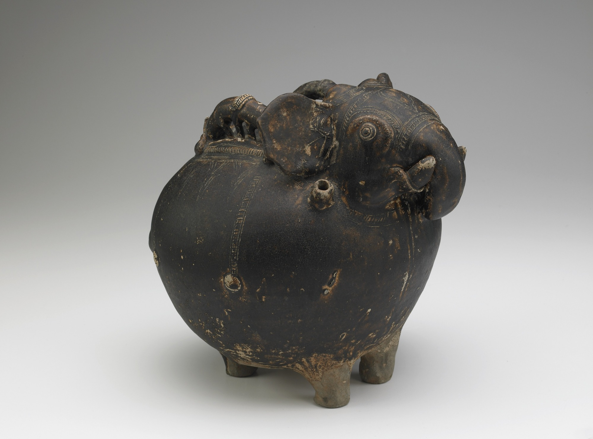 vessel: Pouring vessel in the form of a caparisoned elephant, with a spout on the shoulder