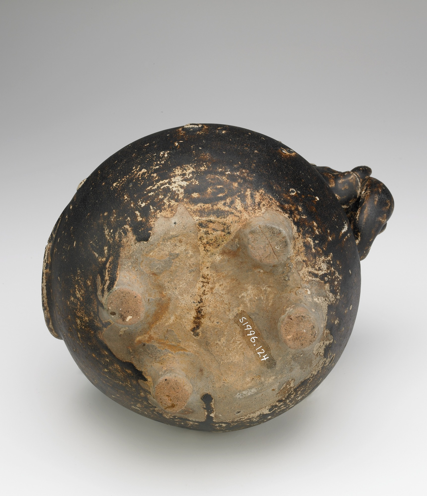 base: Pouring vessel in the form of a caparisoned elephant, with a spout on the shoulder
