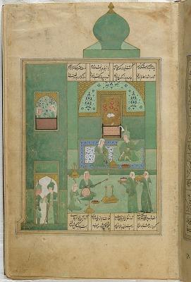 Folio from a <em>Khamsa</em> (Quintet) by Nizami (d.1209); recto: illustration: Bahram Gur in the turquoise-blue pavilion on Wednesday; verso: text