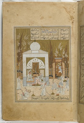 Folio from a <em>Khamsa</em> (Quintet) by Nizami (d.1209); recto: illustration: Bahram Gur visits the princess in the white pavilion; verso: text