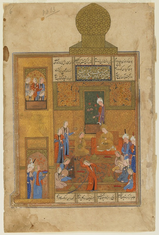 Image 1 for Folio from a Khamsa  (Quintet) by Nizami; recto: Bahram Gur and the Princess in the Yellow Pavilion; verso: text, Princess telling the story