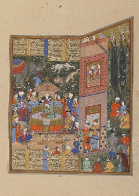 Folio from a <em>Shahnama</em> (Book of Kings) by Firdawsi (d.1020); recto: text; verso: The envoys of Salm and Tur before Faridun