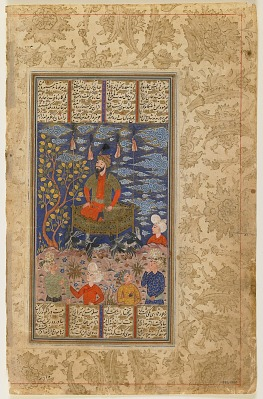 Folio from a <em>Shahnama</em> (Book of kings) by Firdawsi (d.1020); verso: Kay Kavus and his flying machine; recto: text: Kay Kavus' flight to the sky