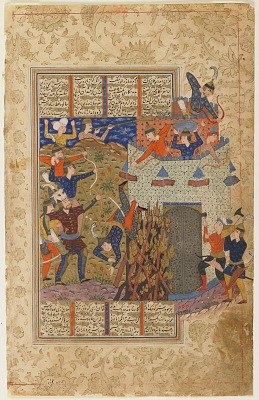 Folio from a <em>Shahnama</em> (Book of kings) by Firdawsi (d.1020); verso: Rustam and his men attack the fortress of Gang Dizh; recto: text