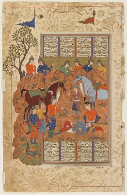 Folio from a <em>Shahnama</em> (Book of kings) by Firdawsi (d.1020); recto: Iskandar comforts the dying Darab; verso: text: Darab's testament to Iskandar