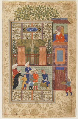Folio from a <em>Shahnama</em> (Book of kings) by Firdawsi (d.1020); verso: Khusraw before Shirin's palace; recto: text: The story of Khusraw va Shirin